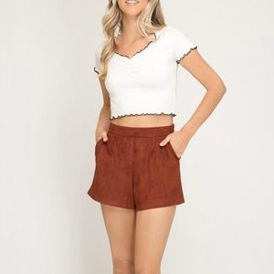 She + Sky Faux Suede Shorts LARGE NWT